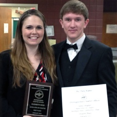 Elizabeth Ross and James Wagner display their awards.