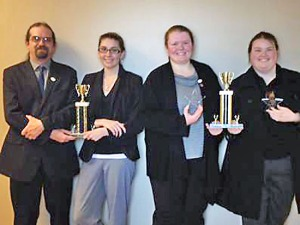 Debate Team members (from left) Rocky Graybeal, Anne Rowell, Britny Fox, and Sydney Crowder.