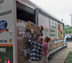 Northeast State volunteers unload the Mobile Food Pantry.
