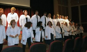 "Nursing students take the ""Nightingale Pledge."""