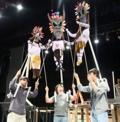 Theater students will operate the gigantic puppet characters.