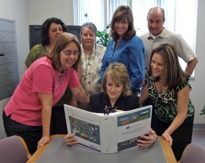 Northeast State Math faculty members review the Student Organizer they created for students.
