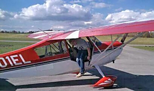 Matt Reap disembarks from a flight in his Cessna.