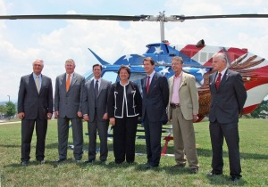 Bell Helicopter executives and state officials join President Janice Gilliam to announce a new agreement between the company and Northeast State.