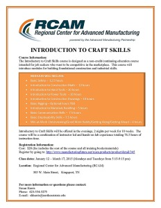 craft skill rcam flier