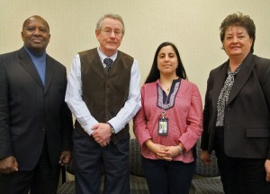 (From left) Northeast State vice president Paul Montgomery, dean of Humanities William Wilson, Francis Canedo, and President Janice Gilliam.