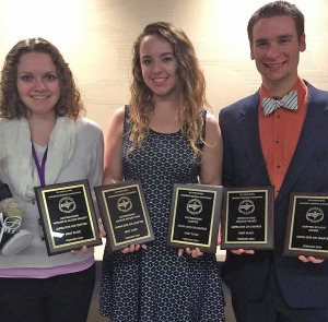 (from left) Alpha Iota Chi members Anna Musket, Emma Bragg, and David Shepherd representing their chapter at the PTK Tennessee Region last weekend.