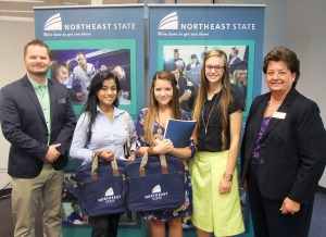 Scholarships Coordinator Josh Johnson (far left) & Dr. Janice Gilliam with three TN Promise students set to attend Northeast State this fall.