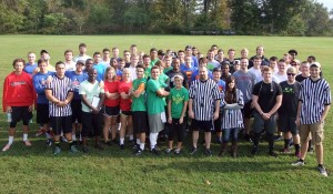 The 7-on-7 Flag Football tournament drew eight teams of more than 60 students.