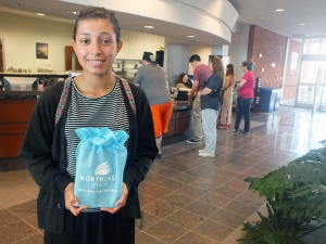 Khaliyah Phillips gets her the first iPad at Blountville campus.