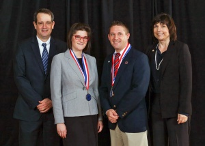 (From left) Jeff McCord, Victoria Hewlett, Paul Taylor, and Jane Honeycutt at the PTK Tennessee Regional Competition.