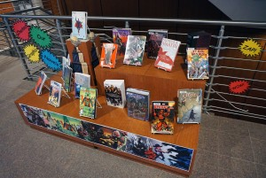 A selection of graphic novels on display and ready for check out at Basler Library.