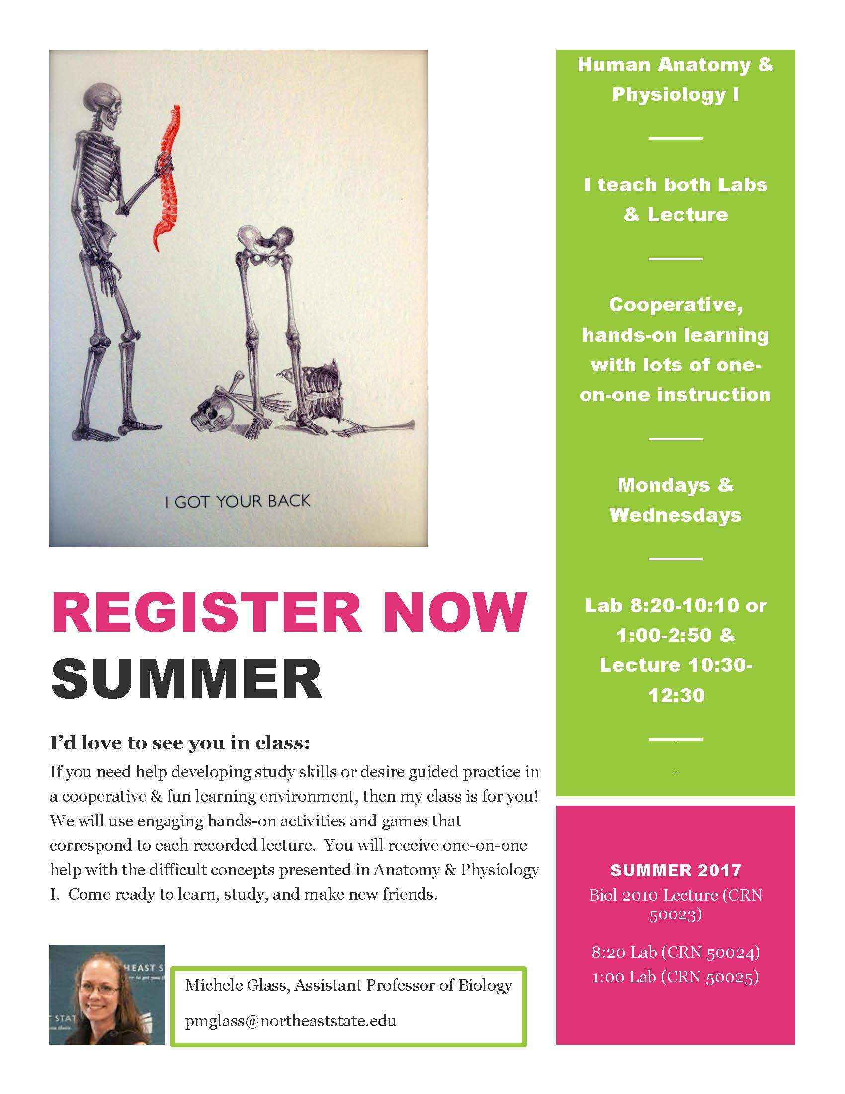 Sign Up for Summer – Anatomy & Physiology I – NORTHEAST NATION